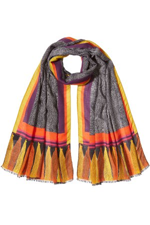 Printed Scarf with Wool and Silk Gr. One Size