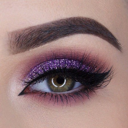 Purple Glitter Eye Makeup