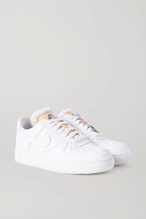 Air Force 1 Gel Crystal-embellished Leather And Mesh Sneakers - White