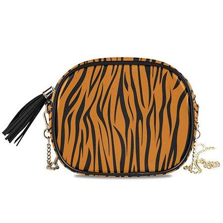 Amazon.com: ALAZA Tiger Stripe Wild Animal Print Cross Body Fashion Chain Bag Single Shoulder PU Leather Purse for Women Girls: YZGO
