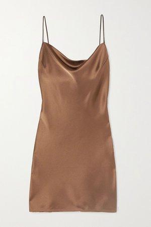 Brown Lotti draped satin mini dress | Nanushka | NET-A-PORTER