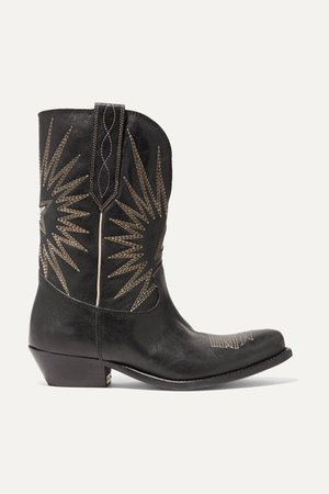 Black Wish Star Low embroidered textured-leather boots | Golden Goose | NET-A-PORTER
