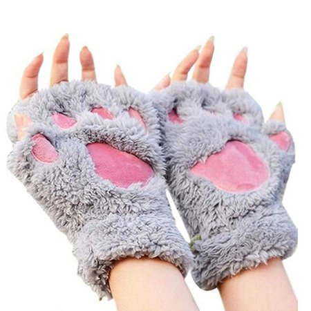 Arshiner Women Bear Plush Cat Paw Claw Glove Soft Winter Gloves Grey-1, One Size at Amazon Women's Clothing store