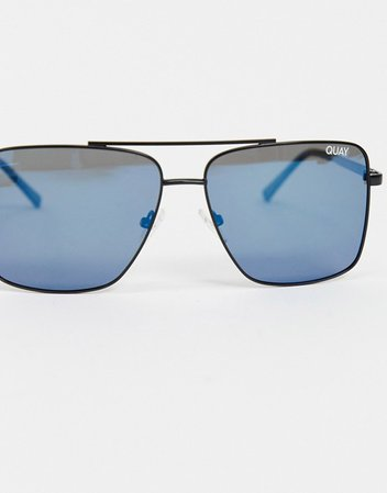 Quay Australia Air Control aviator sunglasses in black with blue lens | ASOS