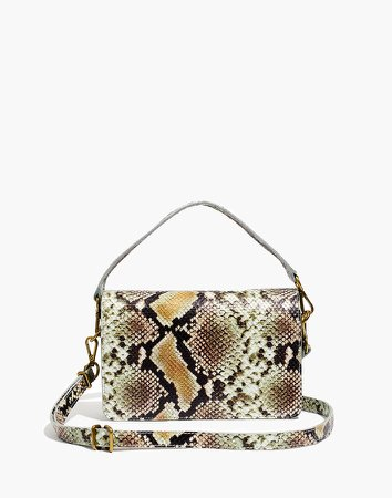 The Flap Convertible Crossbody Bag in Snake Embossed Leather
