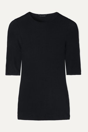 The Bound Ribbed Stretch-jersey T-shirt - Navy