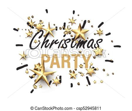 Christmas party card with gold stars. White christmas party background with golden stars. vector paper illustration.