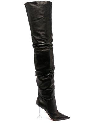 Amina Muaddi Olivia thigh-high Boots - Farfetch