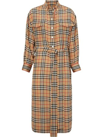 Burberry Vintage Check Silk Tie-Waist Shirt Dress Ss20 | Farfetch.com