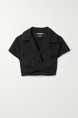 Cropped Hemp-blend Shirt - Black