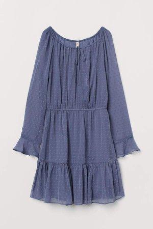 Short Chiffon Dress - Blue