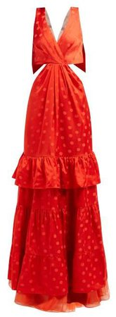 In Search Of Time Polka Dot Jacquard Satin Gown - Womens - Red