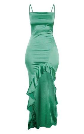 Emerald Green Cowl Neck Frill Hem Maxi Dress   PrettyLittleThing