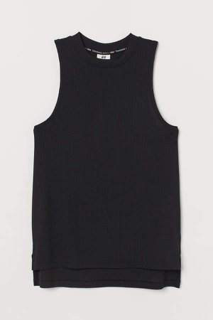 Ribbed Sports Tank Top - Black