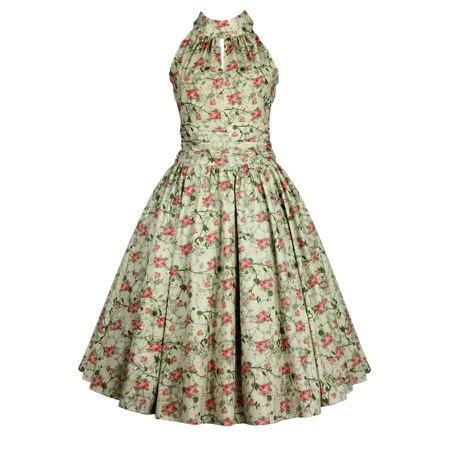 Pale Green Floral Choker Sleeveless Swing Dress - Pretty Kitty Fashion
