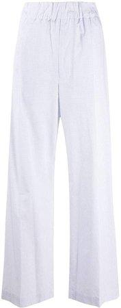 Grid Check High-Rise Wide-Leg Trousers