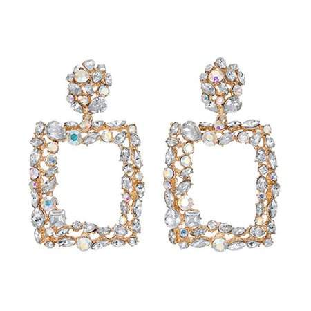 Amazon.com: Statement Earrings for Women Gorgeous Crystal Stone Rhinestone Drop Dangle Party Wedding Daily Club Holiday 1 Pair with gift box HLE71 White: Jewelry