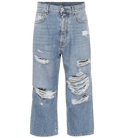 Cropped high-rise straight jeans