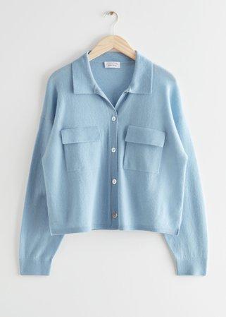 Cropped Boxy Wool Blend Shirt - Light Blue - Shirts - & Other Stories