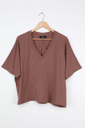 Cute Brown T-Shirt - V-Neck Tee - Oversized T-Shirt