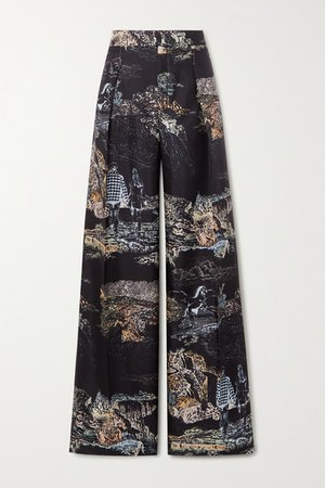 Printed Silk-twill Wide-leg Pants - Black
