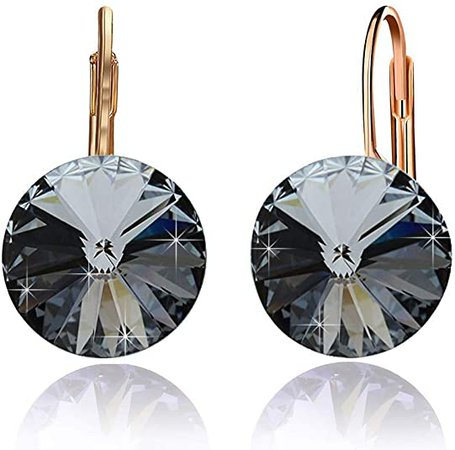 Swarovski Crystal Round Drop Earrings for Women 14K Gold Plated Hypoallergenic Leverback Hoop Earrings (Black)