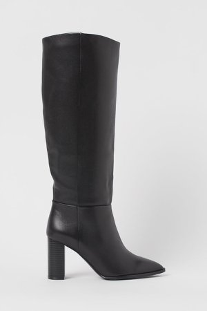 Knee-high Leather Boots - Black