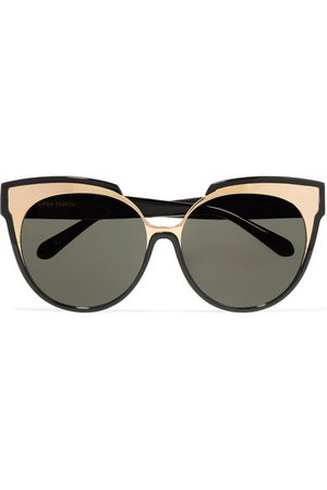 Linda Farrow | Cat-eye gold-tone and acetate sunglasses | NET-A-PORTER.COM