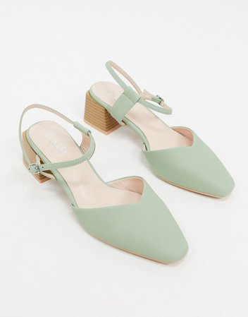 RAID Exclusive Demi kitten heel shoes with square toe in sage green croc | ASOS