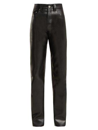 Straight-leg faux-leather biker trousers Kwaidan Editions