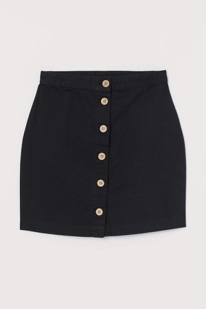 Short Twill Skirt - Black