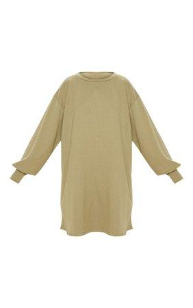 Sage Green Oversized Mini Sweater Dress | Dresses | PrettyLittleThing USA