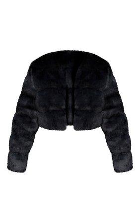 Black Premium Cropped Faux Fur Bubble Coat | PrettyLittleThing USA