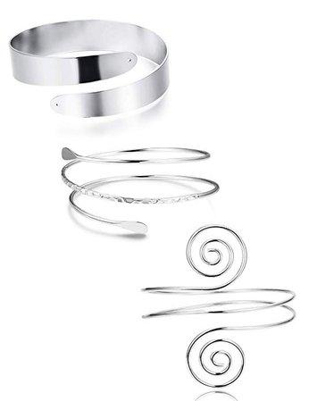 Amazon.com: FUNRUN JEWELRY 3PCS Minimalist Coil Upper Armband Adjustable Cuff Armlet Arm Cuff Bracelet Filigree Swirl Silver Tone: Jewelry