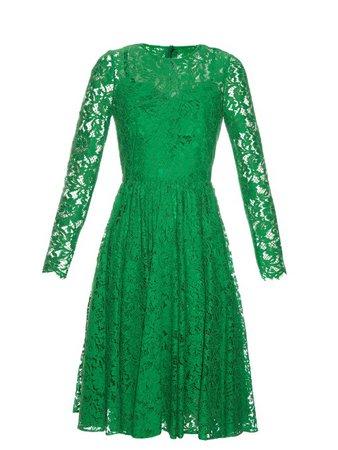 Dolce & Gabbana Long-Sleeved Cordonetto-Lace Dress In Emerald-Green | ModeSens