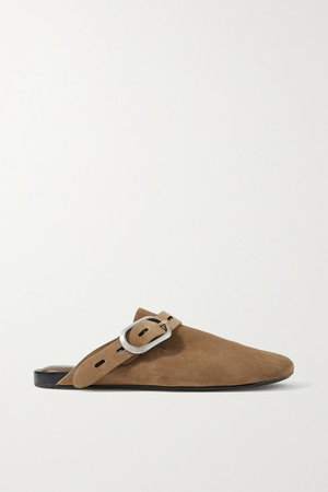 Ansley Buckled Suede Slippers - Tan