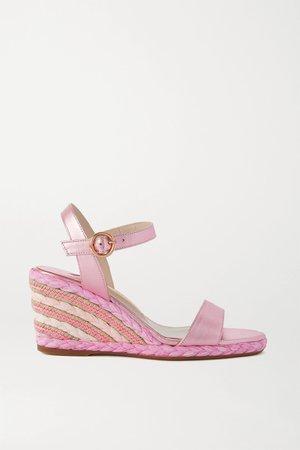 Pink Lucita metallic leather espadrille wedge sandals | Sophia Webster | NET-A-PORTER