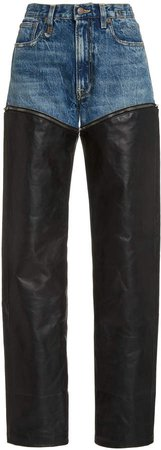 R13 Axl Leather-Inset High-Rise Slim-Leg Jeans