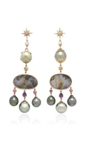 18K White Gold, Aquamarine And Sapphire Earrings by Gioia | Moda Operandi