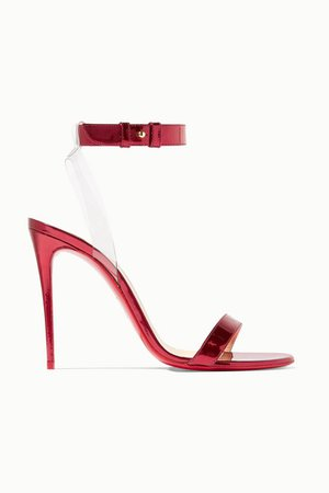 Christian Louboutin | Jonatina 100 PVC-trimmed mirrored-leather sandals | NET-A-PORTER.COM