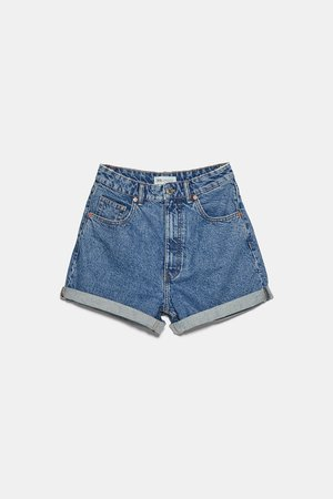 MOM FIT DENIM SHORTS | ZARA United States blue