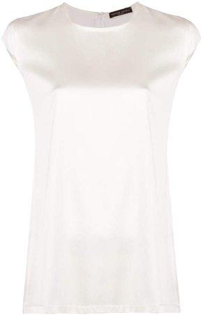 flared sleeveless blouse