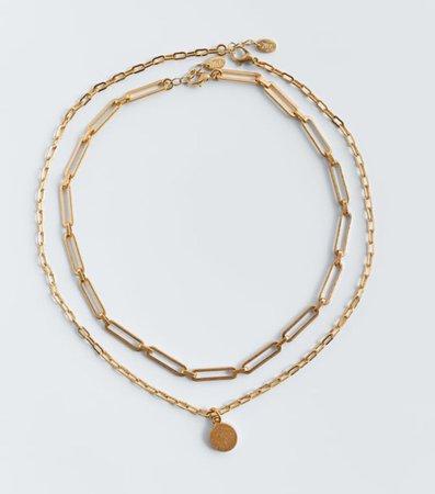 medallion gold necklace set