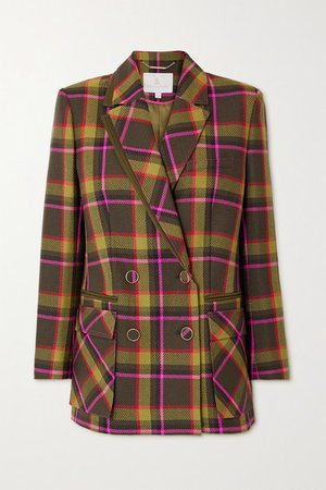 Double-breasted Checked Wool-drill Blazer - Dark green