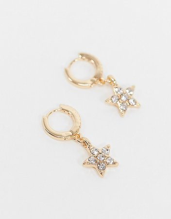 ASOS DESIGN huggie hoop earrings with rhinestone star in gold tone | ASOS