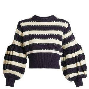 Self-Portrait Sweaters | Selfportrait Balloon Sleeves Striped Sweater New | Poshmark