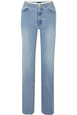 we11done | Faux leather-trimmed mid-rise straight-leg jeans | NET-A-PORTER.COM
