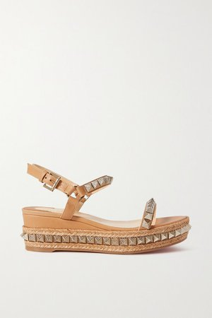 Pyraclou 60 Studded Leather Wedge Sandals - Tan