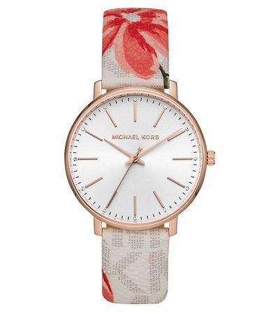 Michael Kors Pyper Three-Hand Multicolor Floral Print Leather Watch   Dillard's