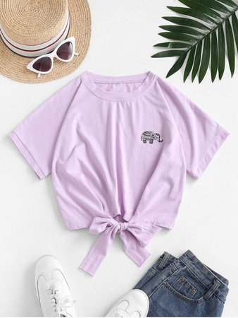 [51% OFF] [POPULAR] 2020 Elephant Graphic Tie Hem Cropped Tee In MAUVE | ZAFUL